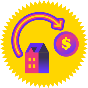 Gold stick with pink and purple house and money symbol inside