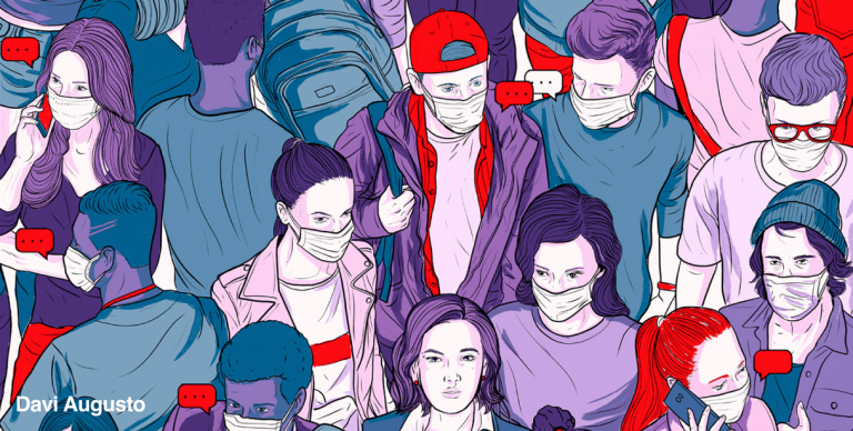 Cartoon of people on a street wearing COVID masks in purple, green, red and pinks